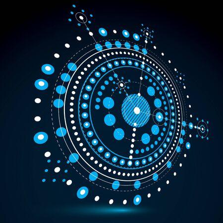 Dibujo técnico realiza mediante líneas de puntos y círculos geométricos. Papel pintado azul del vector de la perspectiva creada en estilo de tecnología de las comunicaciones, el diseño del motor 3d.