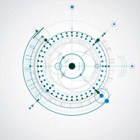 dibujo tecnico: Dibujo t�cnico realiza mediante l�neas de puntos y c�rculos geom�tricos. papel pintado colorido creado en el estilo de la tecnolog�a de las comunicaciones, el dise�o del motor.