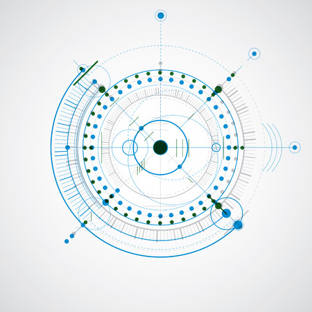 dibujo tecnico: Technical drawing made using dashed lines and geometric circles. Colorful vector wallpaper created in communications technology style, engine design. Vectores