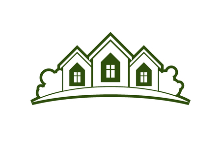 Abstract vector illustration of country houses with horizon line. Simple buildings on nature background, graphic emblem for advertising and real estate. Illustration
