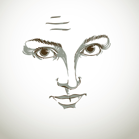 skeptic: Vector art drawing, portrait of gorgeous girl with wrinkles on her forehead. Facial expressions, people emotions, skeptic or distrustful girl. Mask, I do not believe you. Illustration