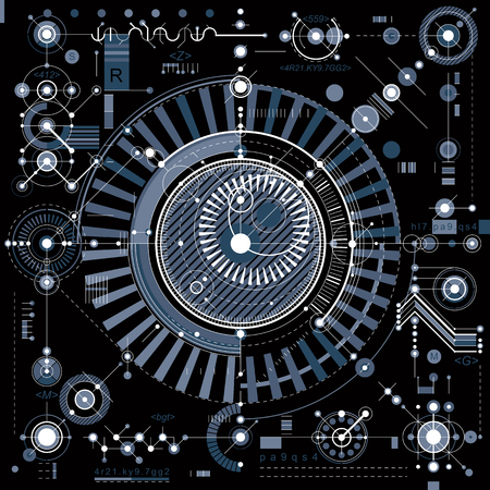 schema meccanico, ingegneria di disegno vettoriale con parti geometriche di meccanismo. Futuristico progetto industriale può essere utilizzato in web design e come sfondo.