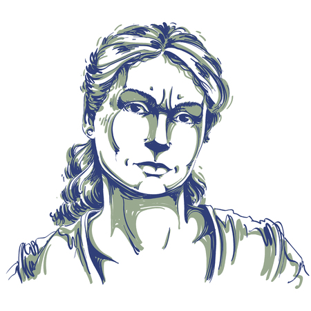 skeptic: Hand-drawn portrait of white-skin doubtful woman, face emotions theme illustration. Skeptic or angry lady with wrinkles on her forehead posing on white background. Illustration