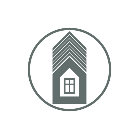 frontage: Home vector symbol, estate agency theme, can be used in advertising and web design. Property simple icon isolated on white.