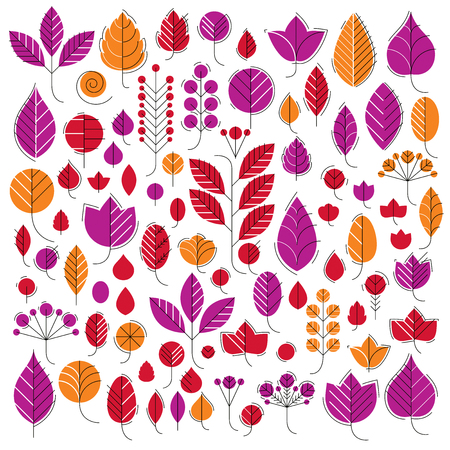Hand-drawn illustration of simple tree leaves isolated. Autumn seasonal foliage, herbs collection. Vector botanical symbols can be used as design elements in ecology conservation theme. Illustration