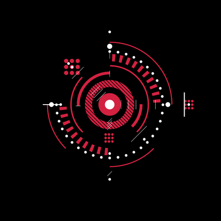 Bauhaus art, decorative modular vector red wallpaper made using circles and lines. Retro style pattern, graphic backdrop for use as booklet cover template. Illustration of engineering system.