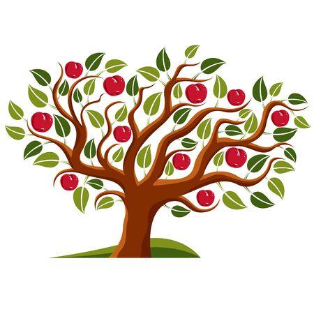 Tree with ripe apples, harvest season theme illustration. Fruitfulness and fertility idea symbolic image. Illustration