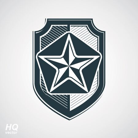 socialism: Vector shield with a pentagonal Soviet star, protection heraldic blazon. Communism and socialism conceptual symbol. Ussr design element.