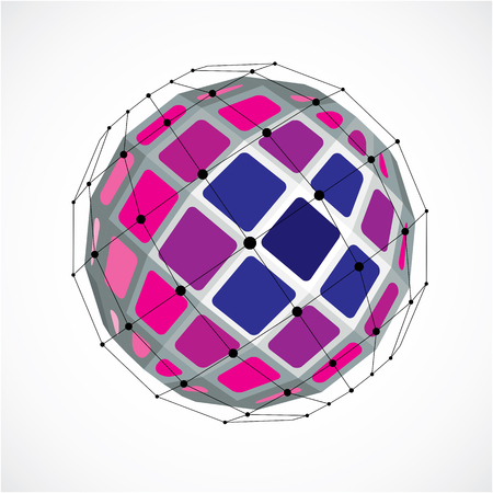 facet: 3d vector low poly spherical object with black connected lines and dots, geometric purple wireframe shape. Perspective facet orb created with squares.