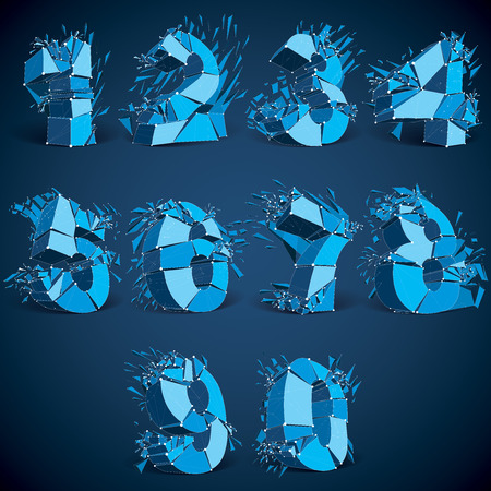 luminescent: Set of 3d vector low poly blue numbers with white connected lines and dots, geometric wireframe luminescent font with fragments. Perspective shattered numeration with thread. Illustration