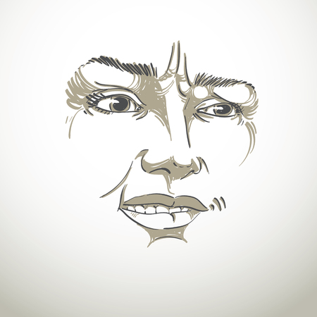 Vector drawing of distrustful woman, face features. Black and white portrait of doubter lady, do not lie to me. Illustration