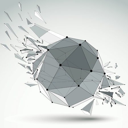 refractions: 3d vector low poly object with black connected lines and dots, geometric wireframe shape with refractions. Asymmetric perspective shattered form.