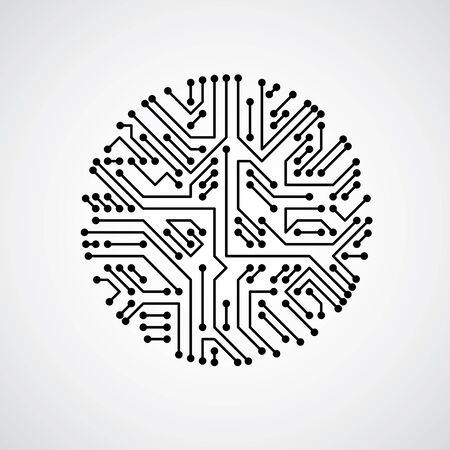 cybernetic: Futuristic cybernetic scheme, vector motherboard black and white illustration. Circular element with circuit board texture.