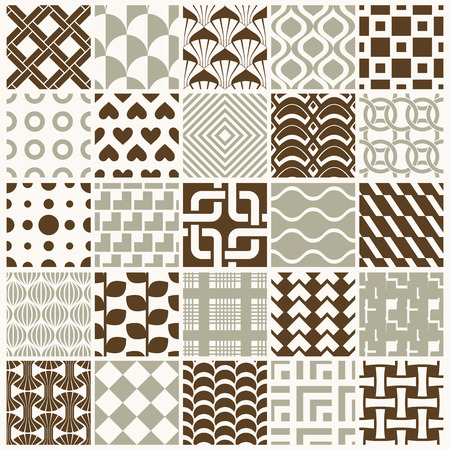 squama: Vector ornamental seamless backdrops set, geometric patterns collection. Ornate textures made in modern simple style. Illustration