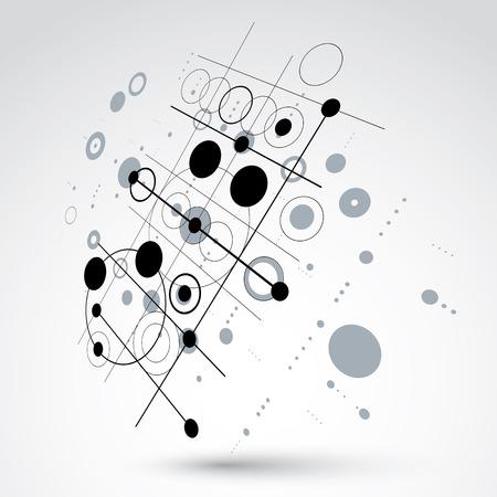 perspectiva lineal: composición Bauhaus arte tridimensional, perspectiva blanco y negro del papel pintado del vector modular con círculos y rejilla. patrón de estilo retro, telón de fondo gráfico para su uso como plantilla de la cubierta folleto.