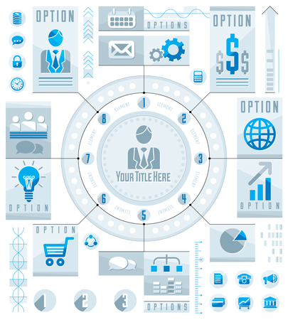 sectors: Infographics circular concept with lot of elements, circle divided with sectors and lines, vector illustration.