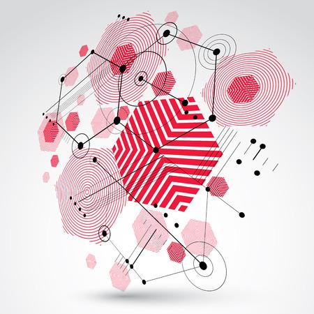 perspectiva lineal: Modular Bauhaus fondo de vector 3D, creado a partir de figuras geométricas como hexágonos, círculos y líneas. Para su uso como cartel de la publicidad o el diseño de la bandera. Esquema mecánico abstracto hecho de color rojo.