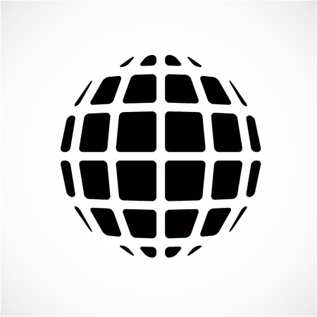 3d form made with black lines, futuristic origami abstract modeling. Black and white vector low poly design element, cybernetic orb shape for use in science and technology. Illustration