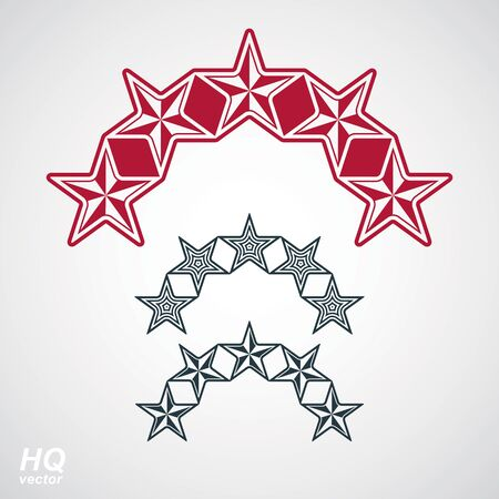 globalism: Vector eps8union symbol. Festive design element with stars, decorative luxury template. Corporate branding icons. Social concept theme emblems set.