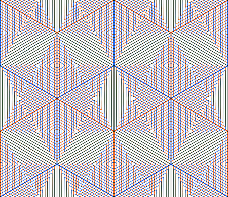 illusory: Colored abstract interweave geometric seamless pattern, EPS10. Bright illusory backdrop with three-dimensional intertwine figures. Graphic contemporary covering.