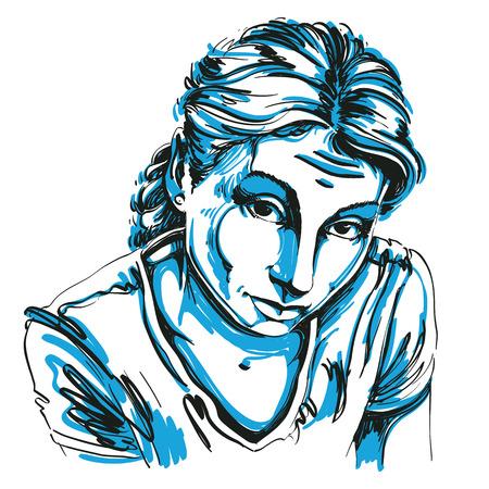 Retrato de la mujer delicada ingenuo o censurable, blanco y negro dibujo vectorial. expresiones emocionales idea imagen.