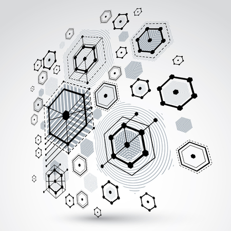 3d vector abstract background created in Bauhaus retro style. Modern geometric composition can be used as templates and layouts. Engineering technological monochrome wallpaper made with honeycombs.