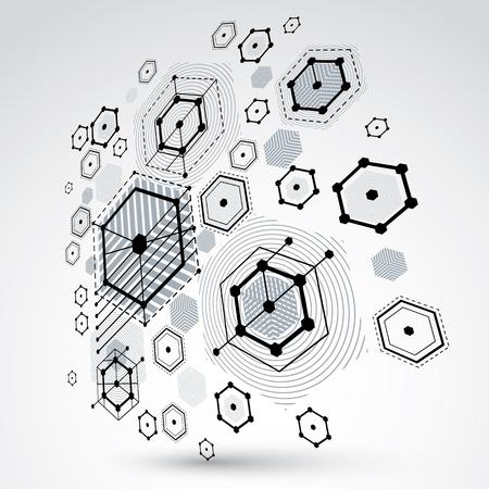 perspectiva lineal: Fondo abstracto del vector 3d creado en estilo retro Bauhaus. La composición geométrica moderna se puede usar como plantillas y diseños. Papel pintado monocromático tecnológico de ingeniería hecho con panales. Vectores