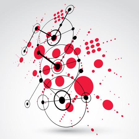 perspectiva lineal: Modular Bauhaus 3D vector fondo rojo, creado a partir de figuras geométricas simples como círculos y líneas. Mejor para su uso como cartel de la publicidad o el diseño de la bandera.