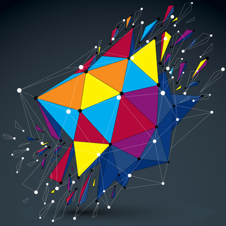 smashed: 3d vector low poly object with connected lines and dots, colorful digital geometric wireframe shape with different particles. Asymmetric bright perspective shattered form.
