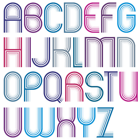 parallel: Large parallel colorful uppercase letters with rounded corners, striped font with outline.