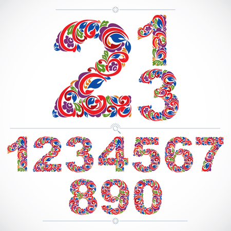 Floral numbers drawn using abstract vintage pattern, spring leaves design. Colorful vector digits created in natural eco style.