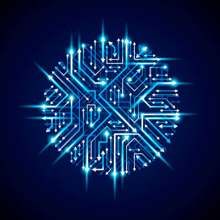Vector sparkling circuit board circle, digital technologies abstraction. Blue shine computer microprocessor scheme with arrows, neon futuristic design. Illustration