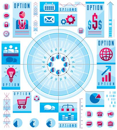 sectors: Infographics circular composition, circle divided with sectors and lines, vector layout illustration.