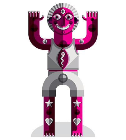 anthropomorphic: Vector avant-garde illustration of mythic person, pagan symbol.  Modernistic graphic picture, anthropomorphic character isolated.