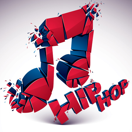 Red 3d vector musical note broken into pieces, explosion effect. Dimensional art melody symbol, hip hop music theme