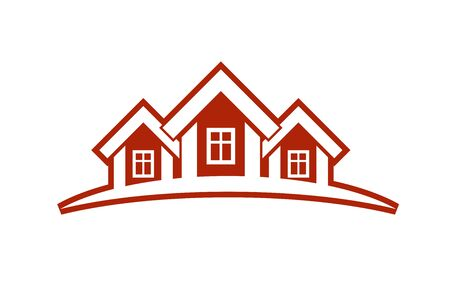 locality: Colorful holiday houses vector illustration, home image with horizon line. Touristic and real estate creative emblem, cottages front view. Illustration