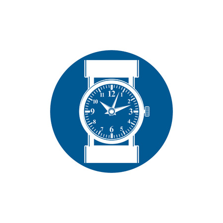 interim: Graphic pocket watch illustration. Wristwatch with dial and an hour hand, for use as web element or interface button.