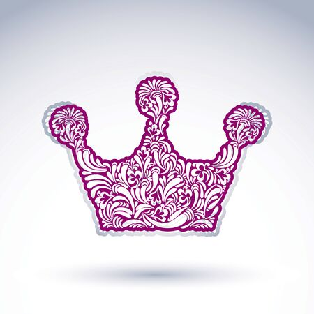 Flower-patterned imperial crown isolated on white background. Floral decorated majestic coronet, imperial theme vector design element.