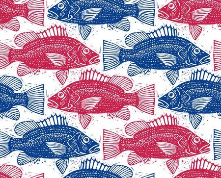bream: Seamless sea vector pattern, different fish silhouettes. Hand drawn fauna wallpaper, aqua nature continuous background.