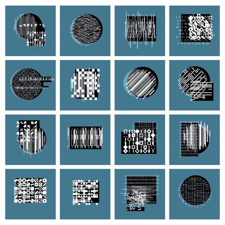 graphic arts: Vector geometric compositions set, abstract graphic arts collection.