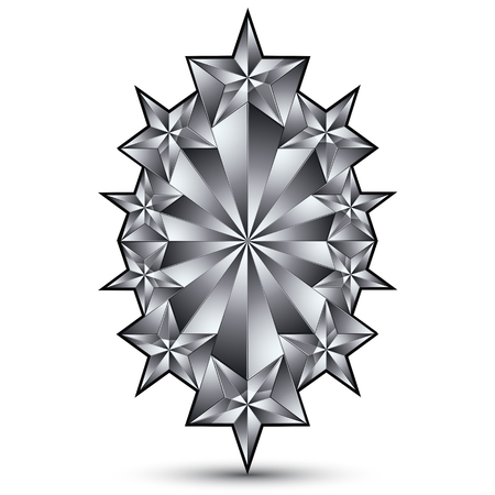 Glamorous vector template with pentagonal silvery stars, best for use in web and graphic design. Conceptual gray 3d heraldic icon, clear eps8 vector symbol. Illustration