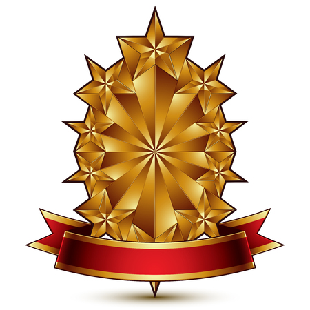 glorious: Glamorous vector template with pentagonal golden stars, best for use in web and graphic design. Conceptual heraldic icon with red curved ribbon, clear eps8 vector.