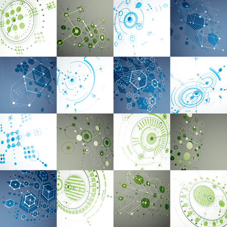 overlie: Set of 3d vector abstract backgrounds created in Bauhaus retro style. Geometric composition can be used as templates and layouts. Engineering technology wallpapers made with circles and honeycombs.
