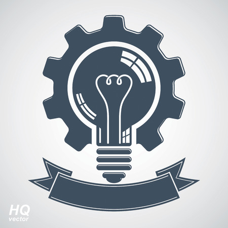 conceptual symbol: High quality vector light bulb with a cog wheel. Best business idea award icon, manufacturing innovation symbol with curvy decorative ribbon. Technical solution conceptual symbol, retro graphic gear.