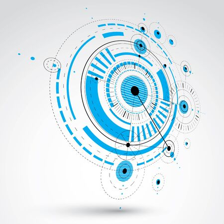 Technical drawing made using dashed lines and geometric circles. Blue perspective vector wallpaper created in communications technology style, 3d engine design.
