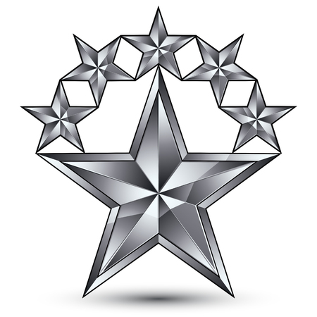 glamorous: Glamorous vector template with pentagonal silvery star symbol, best for use in web and graphic design. Conceptual gray 3d heraldic icon, clear eps8 vector. Illustration