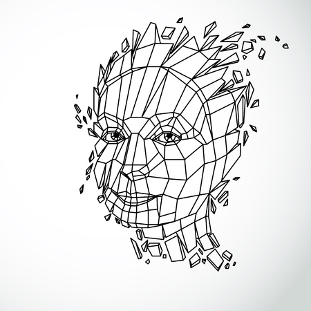 splinters: Modern technological illustration of personality, 3d vector portrait. Intelligence metaphor, low poly face with splinters which fall apart, head exploding with ideas, thoughts and imagination.