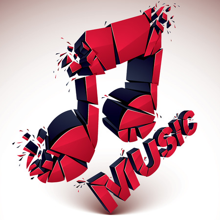 transform: 3d vector red shattered musical notes with music word. Art melody transform symbol broken into pieces.
