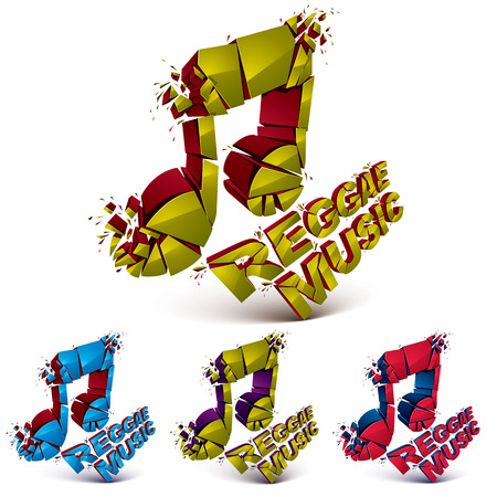 demolish: Collection of 3d vector musical notes created from refractions isolated on white. Set of colorful three-dimensional transform music theme design elements. Reggae music theme
