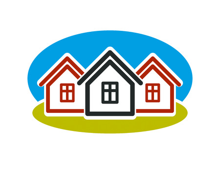 coupled: District conceptual vector illustration, three simple houses. Houses art picture, real estate theme. Abstract image, best for use in advertising, estate and construction business. Illustration